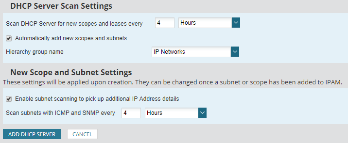 Add, edit, or remove a DHCP server to IPAM