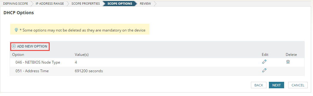 Define scope options on a DHCP server