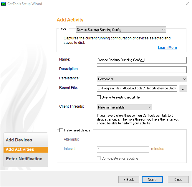Create scheduled activities to run against your device