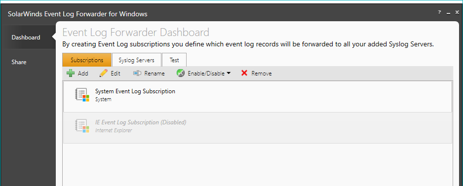 Add an event log subscription
