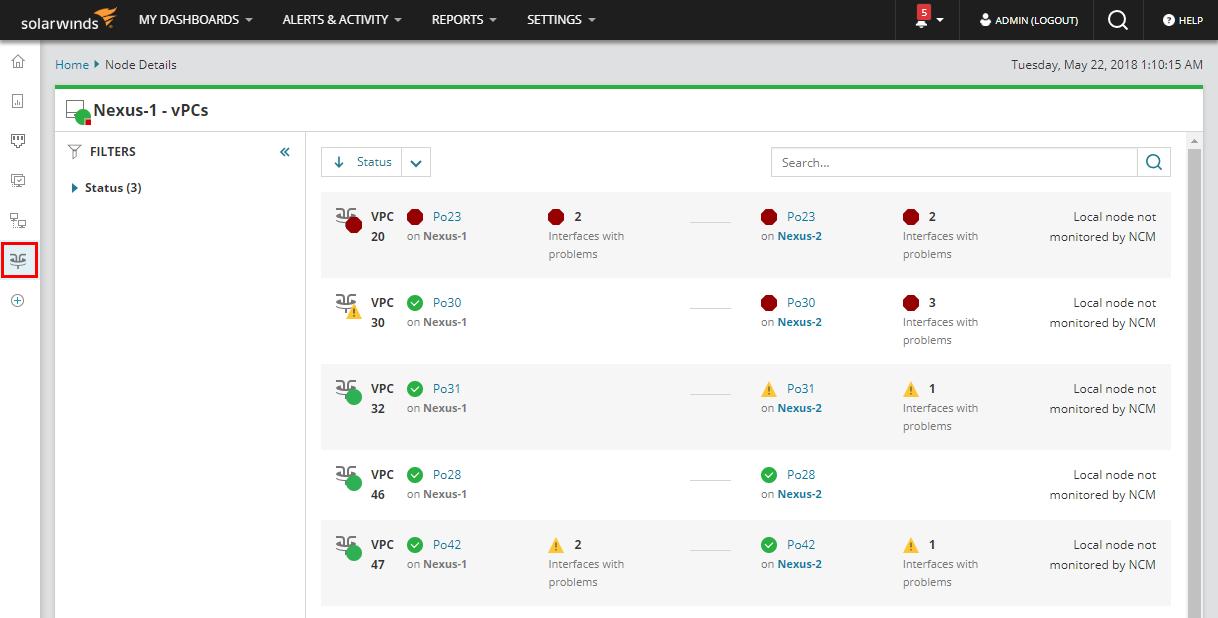 Monitor Cisco Nexus devices in NPM