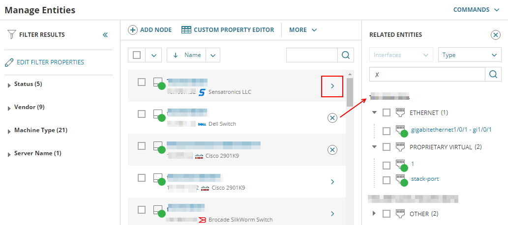 Customize the Manage Nodes / Entities view in the Orion Platform