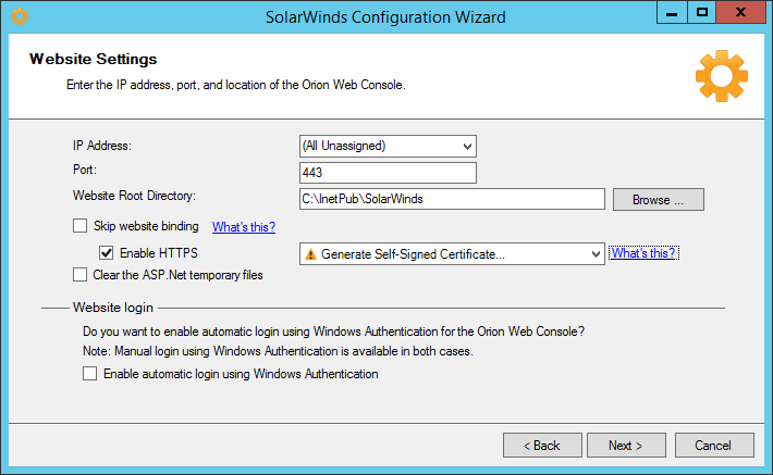 Configure the Orion Web Console to use SSL