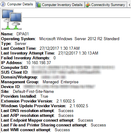 View WMI connectivity details
