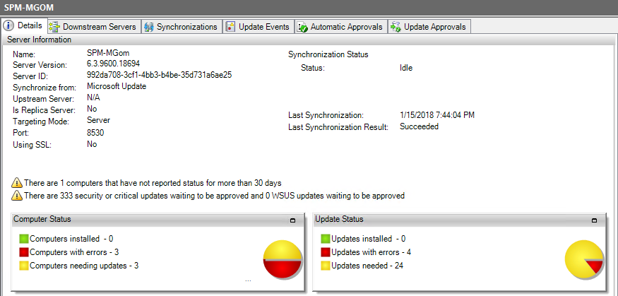 Synchronize the WSUS server with Microsoft Update