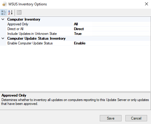 Configure the WSUS inventory task