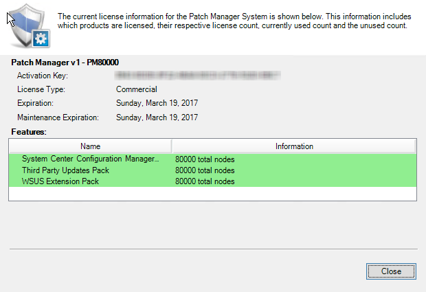 Activate the Patch Manager license