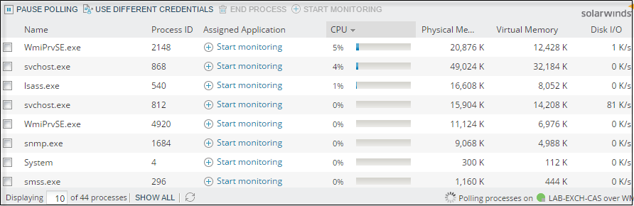 Use the Real-Time Process Explorer