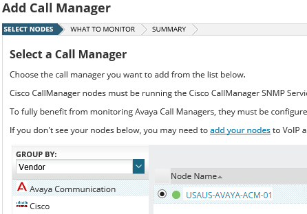 Add a call manager device to SolarWinds VNQM