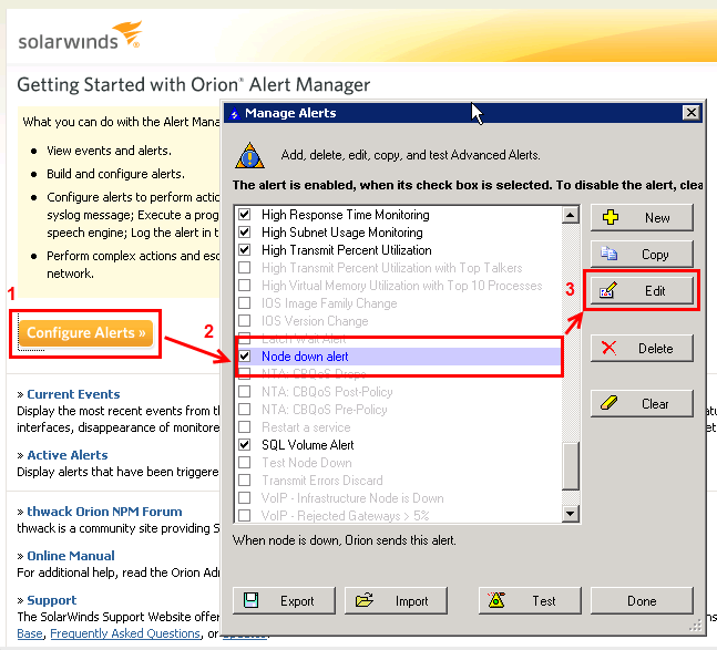 Enabling SolarWinds Orion to Share Alerts