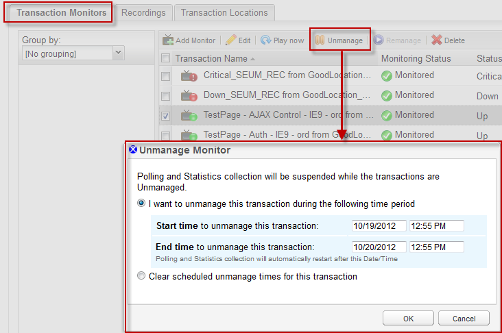 Manage transactions through the Orion Web Console